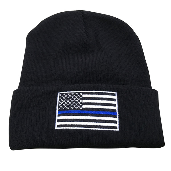 Thin Blue Line USA Flag Knit Skull Cap Hat Beanie by TrendyLuz - Support Police and Law Enforcement
