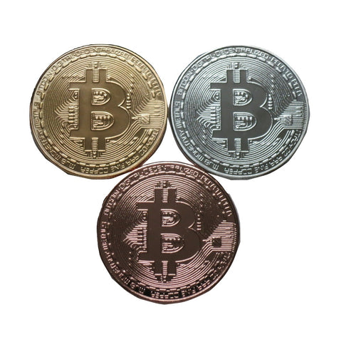 Set of Gold, Silver, and Copper Plated Color Bitcoins BTC Physical Cryptocurrency Collectible Coins by TrendyLuz