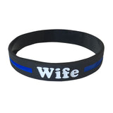 Wife Thin Blue Line Silicone Wrist Band Bracelet Wristband - Support Police and Law Enforcement