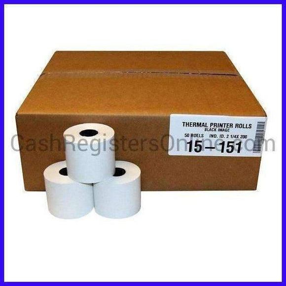 2 1/4'' by 200' Thermal Cash Register Paper Rolls - Cash Registers Online
