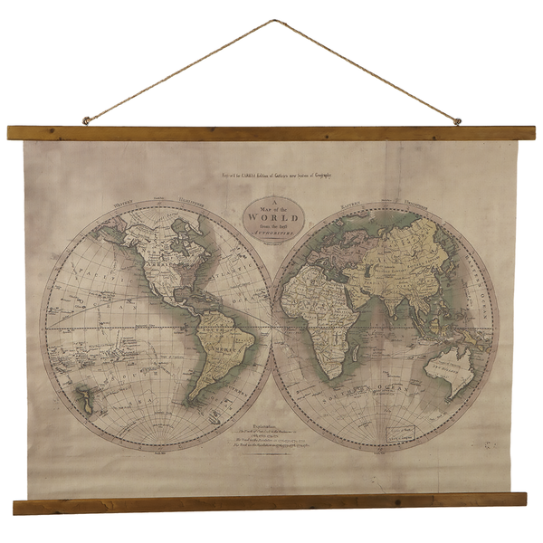 132186 Antique World Map Rolled Canvas