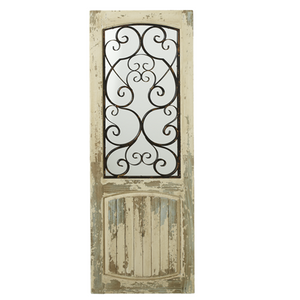 151296 White Door Mirror with Black Scroll