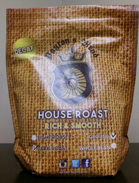 Decaffeinated House Roast Whole Bean Coffee (2LB)