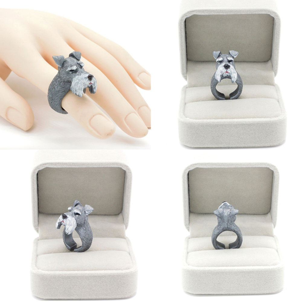 KARASU Designer Handmade Schnauzer Adorable 3D Stereoscopic Animal Dog Finger Ring