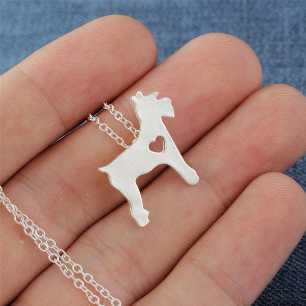 Schnauzer Necklace Matt Silver Dog
