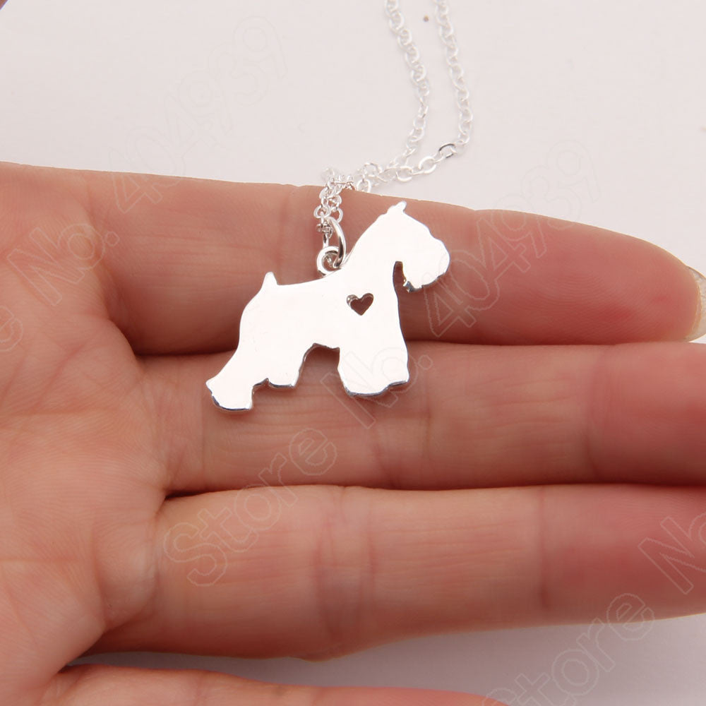 Schnauzer Necklace Pendant Puppy Heart