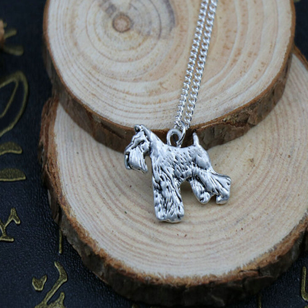 wholesale cartoon schnauzer dog necklace pendant jewelry Silver