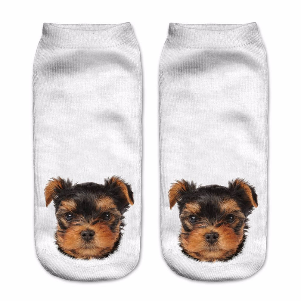 2016 Fashion Meias Man Women Sock Casual Cute Yorkie Funny Dog Socks