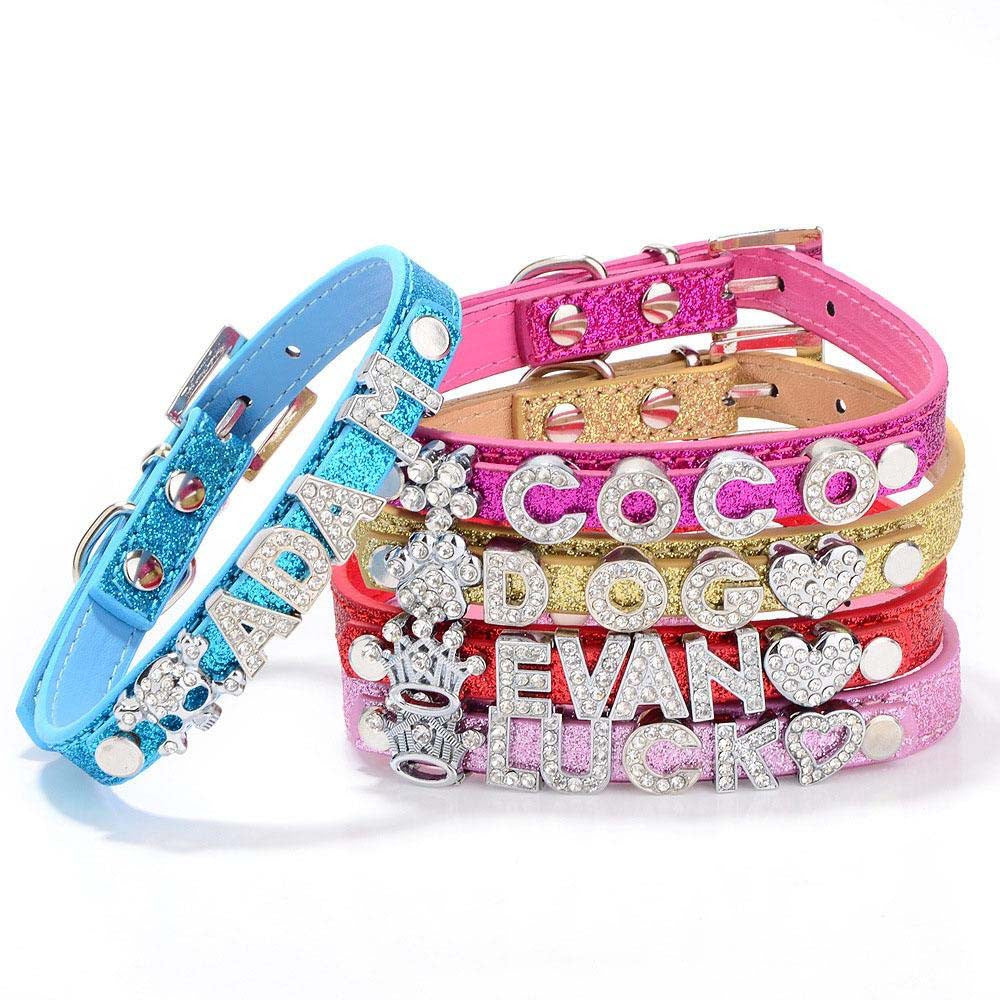 DIY Name Dog Collar Bling Personalized Pet Collars with Buckle
