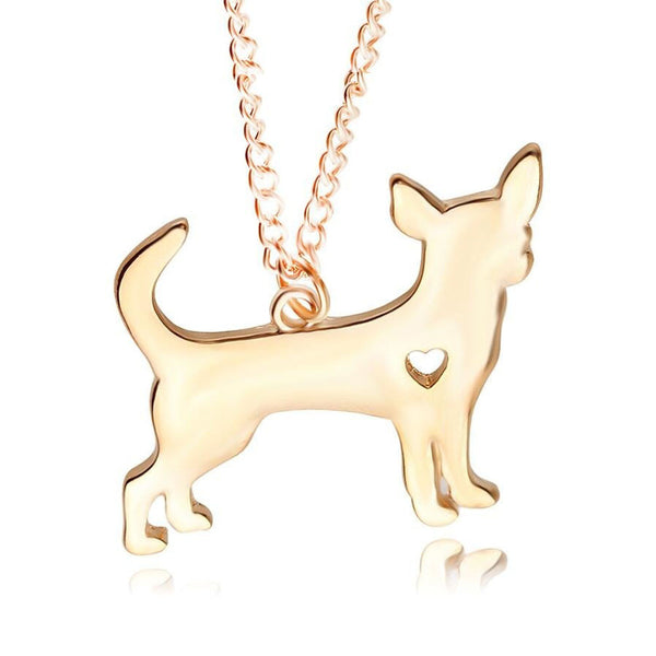 Chihuahua Necklace Heart Charm