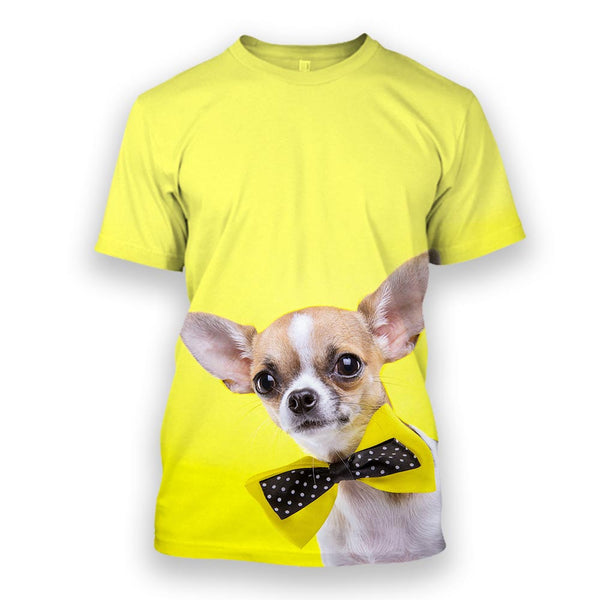 Chihuahua black neck band t shirt