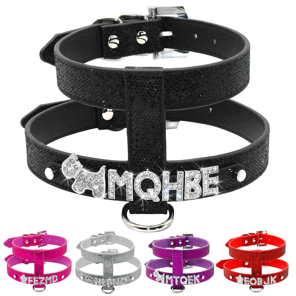 Free Name Customized PU Leather Dog Harness Personalized with Crystal Letters