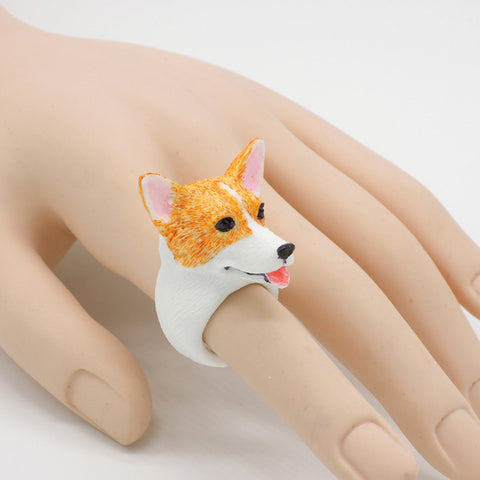 Ring Handmade Corgi Adorable 3D Stereoscopic