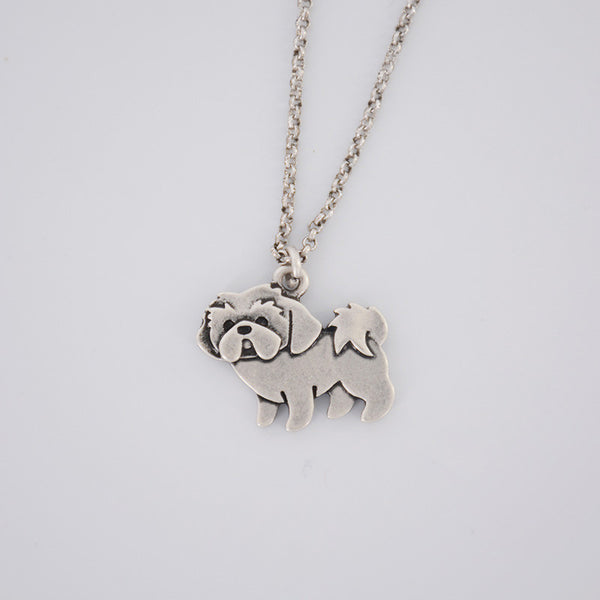 Necklace Shih Tzu 3D Silver