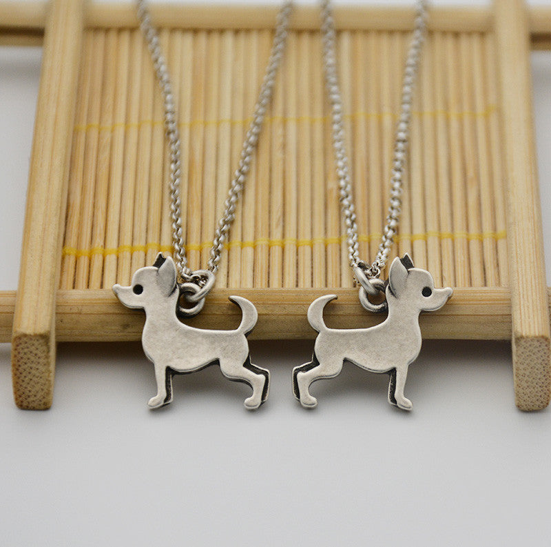 3D Silver Chihuahua Necklace