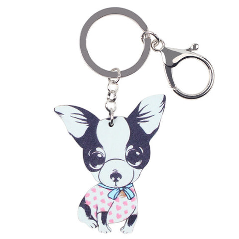 Bonsny Colorful Chihuahuas Keychain