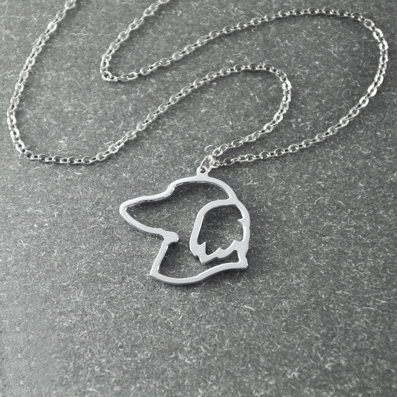 Dachshund  Necklace Silver