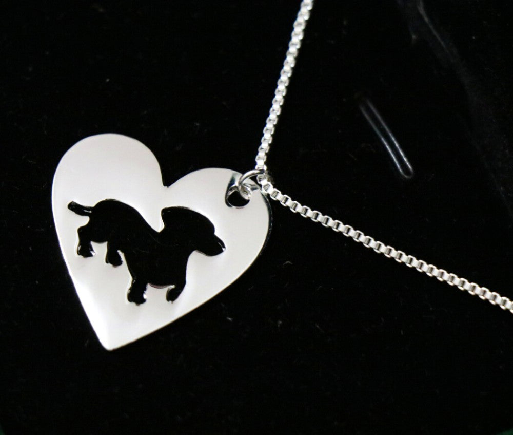 Cartoon Dachshund Dog Necklace Pendant Heart Shape
