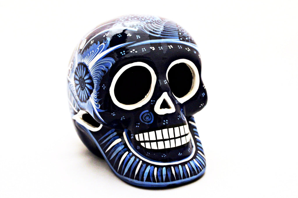 DAY OF THE DEAD HANDMADE BLUE SKULL