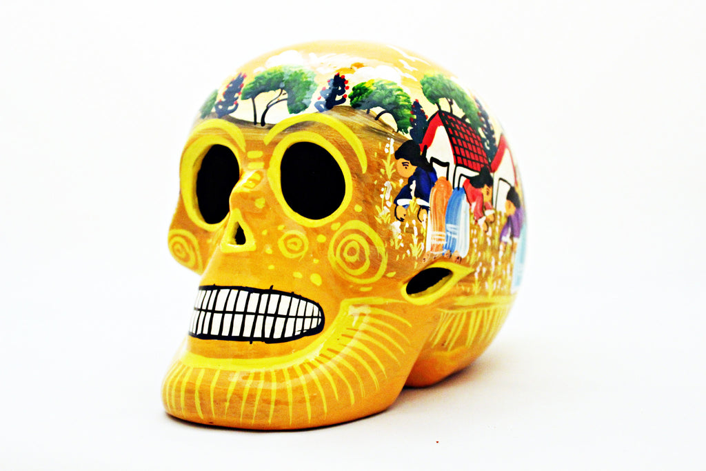 DAY OF THE DEAD HANDMADE YELLOW SKULL