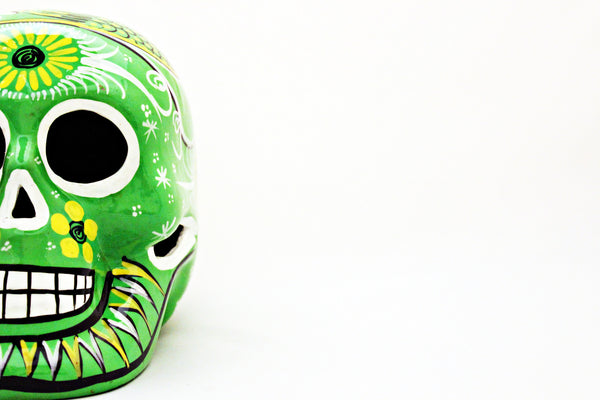 DAY OF THE DEAD HANDMADE GREEN SKULL