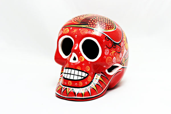 DAY OF THE DEAD HANDMADE RED SKULL