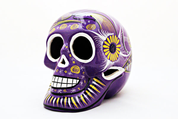 DAY OF THE DEAD HANDMADE PURPLE SKULL