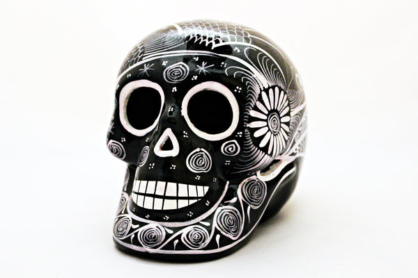 DAY OF THE DEAD HANDMADE BLACK SKULL