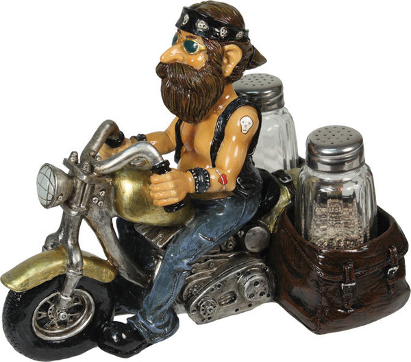 Biker Dude Salt and Pepper Shaker Set, Man Cave