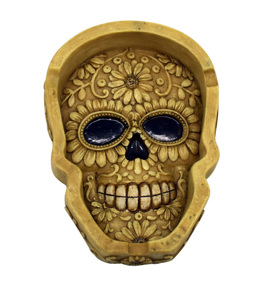 BONE SKULL FLAT ASHTRAY