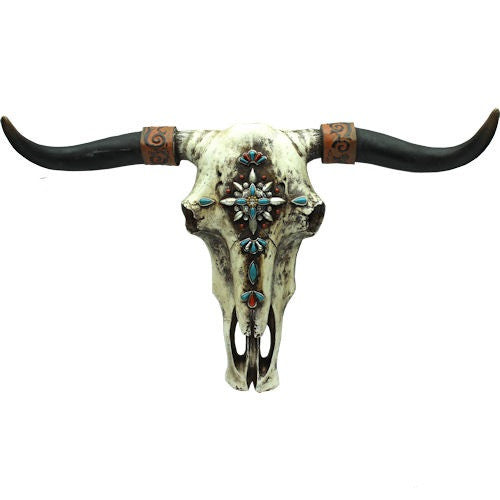 COW SKULL WITH TURQUOISE GEMS