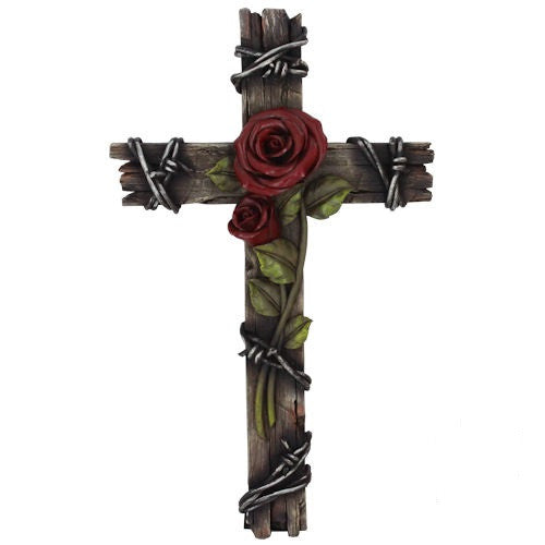 WOOD LOOK CROSS WITH ROSE