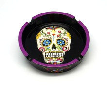 DAY OF DEAD/SUGAR SKULL PURPLE ASHTRAY