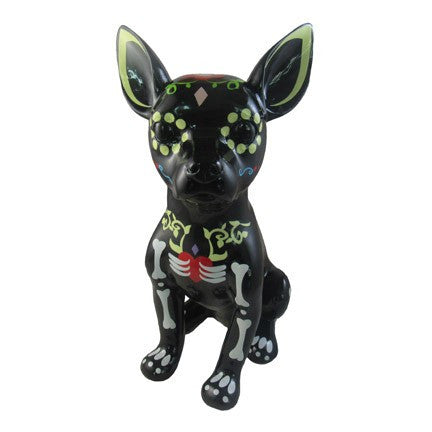 Chihuahua sugar skull ceramic dog black