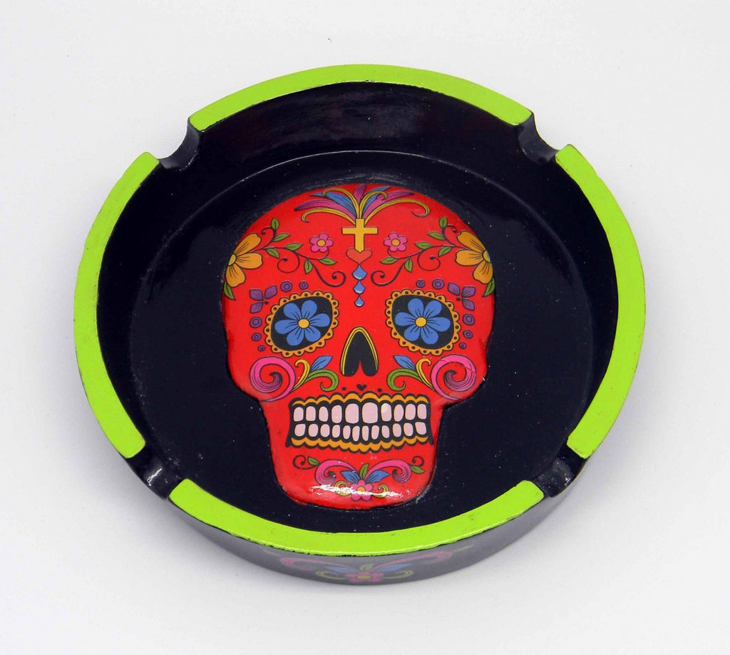 DAY OF THE DEAD/SUGAR SKULL RED ASHTRAY