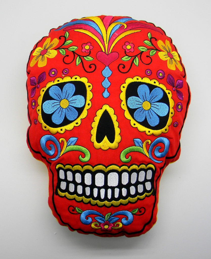 DAY OF THE DEAD/SUGAR SKULL RED PILLOW