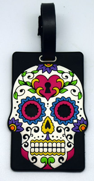 DAY OF THE DEAD/SUGAR SKULL WHITE LUGGAGE TAG