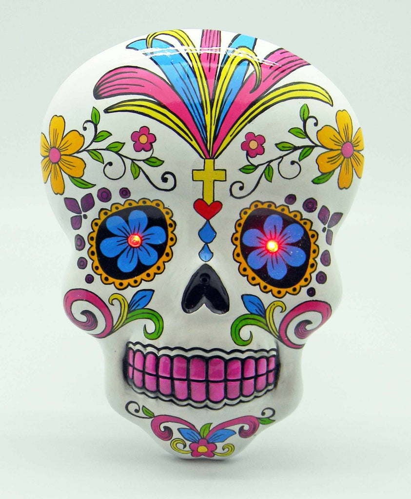 DAY OF THE DEAD/SUGAR SKULL WHITE WALL PLAQUE