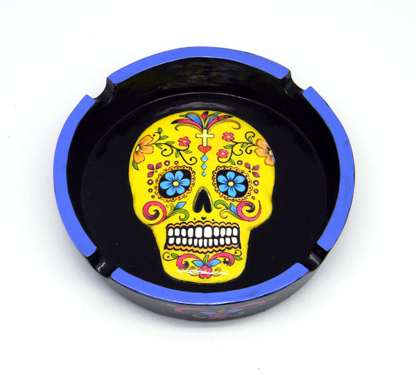 DAY OF DEAD/SUGAR SKULL YELLOW ASHTRAY