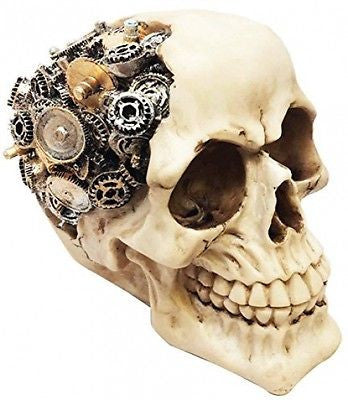STEAMPUNK SKULL WITH GEAR BRAIN