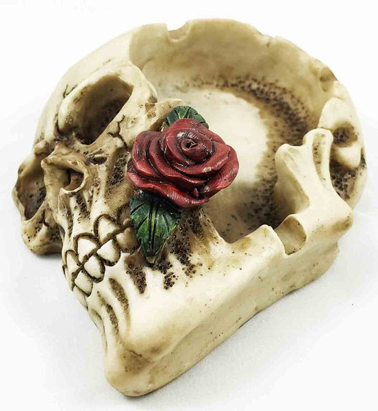 SKULL WITH ROSE IN MOUTH ASHTRAY