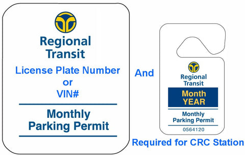 CRC Monthly Parking Permit (with Hang Tag)- July 2017