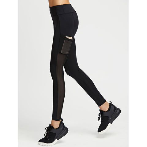 Active Mesh Paneled Leggings With Pocket,  Women - Apparel - Activewear - Leggings - Found Lost Outdoors