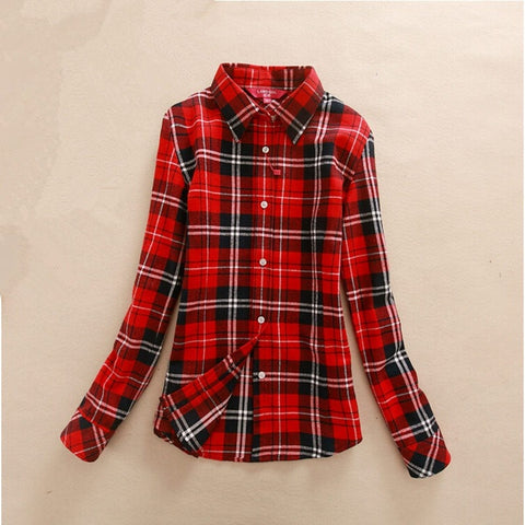 Women's Plaid Cotton Slim Long-sleeve Shirt