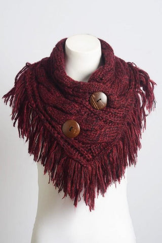 Beautiful Burgundy Infinity Scarf w/ Buttons,  Fashion Accessories - Found Lost Outdoors