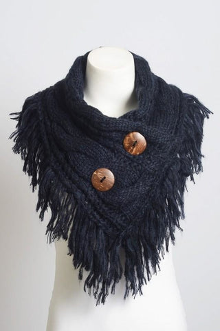 Beautiful Navy Infinity Scarf w/ Buttons,  Fashion Accessories - Found Lost Outdoors