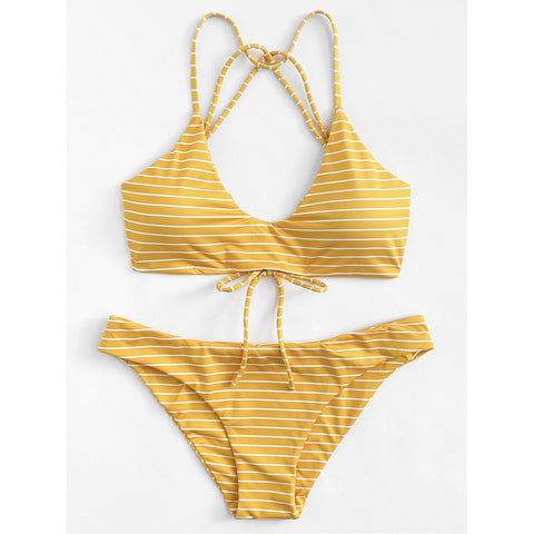 Striped Strappy Bikini Set,  Women - Apparel - Swimwear - Bikinis Separates - Found Lost Outdoors