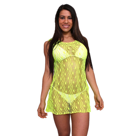Women's Spider Tank Swimwear Cover-up Beach Dress: NEON YELLOW,  Women - Apparel - Shirts - Sleeveless - Found Lost Outdoors