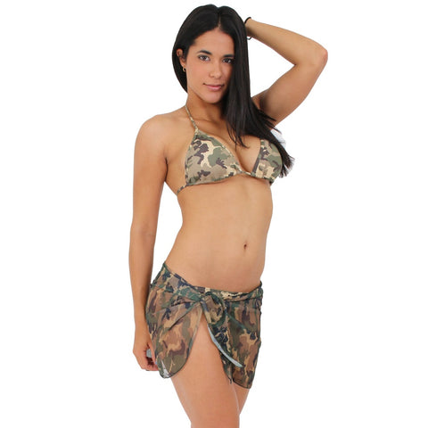 CAMO CAMOUFLAGE Sarong -Cover-up - Wrap - Pareo: Short Length,  Women - Apparel - Swimwear - Cover Ups - Found Lost Outdoors