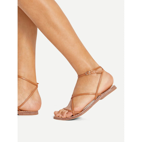 Strappy Design PU Flat Sandals,  Footwear - Found Lost Outdoors